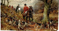 GONE TO GROUND, huntsmen and hounds, prominent tree right