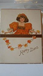 HAPPY DAYS, girl on orange dress holds a garland of flowers