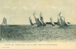 SCHOONER RACE-GULF OF MEXICO.  DEER ISLAND IN THE DISTANCE