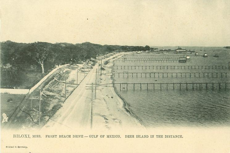 FRONT BEACH DRIVE- GULF OF MEXICO. DEER ISLAND IN THE DISTANCE