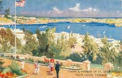 THE ST. GEORGE HOTEL, ST. GEORGES, BERMUDA  TOWN & HARBOR OF ST. GEORGES FROM HOTEL TERRACE