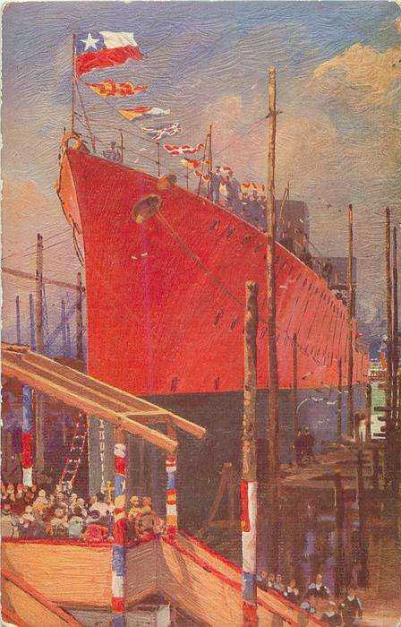 """LAUNCHING OF THE CHILEAN DESTROYER """"SERRANO"""" AT SOUTHAMPTON"""