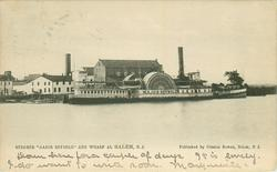 "STEAMER ""MAJOR REYBOLD"" AND WHARF AL SALEM, N.J. (spelling error for AT)"