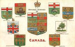 E.R.I. ARMORIAL BEARINGS OF CANADA  four coats of arms on either side of shield
