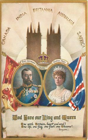 CANADA, INDIA, BRITANNIA, AUSTRALASIA, S.AFRICA, GOD SAVE OUR KING AND QUEEN insets King & Queen, flags
