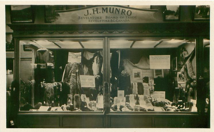 J.H. MUNRO, REVELSTOKE BOARD OF TRADE view of exhibit from front