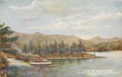 view of steamer travelling along coast near resort