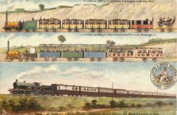 3insets  A TRAIN IN 1837 OF FIRST CLASS CARRIAGES WITH THE MAIL/A TRAIN IN 1837 FOR SECOND CLASS OUTSIDE PASSENGERS/SPECIAL ANGLO-AMERICAN BOAT EXPRESS IN 1904