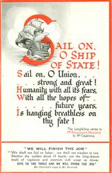 SAIL ON, O SHIP OF STATE! SAIL ON, O UNION//FATE! sailing ship