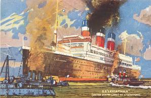 """S.S. """"LEVIATHAN"""" (UNITED STATES LINES) AT CHERBOURG"""