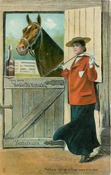 """THEY WERE """"BRED IN OLD KENTUCKY"""", """"KENTUCKIANS""""  woman & riding crop right, horse looks in, whisky bottle"""