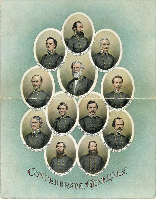 oval insets of 12 CONFEDERATE GENERALS