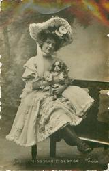 MISS MARIE GEORGE King Charles spaniel on her lap