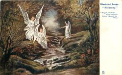 "three angels by stream  '""ANGELS FOLD THEIR WINGS AND REST, IN THAT EDEN OF THE WEST"""