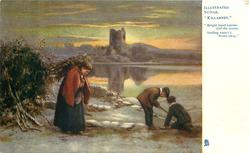 "winter lakeside scene, woman carries wood, two boys play  ""BRIGHT HUED BERRIES DAFF THE SNOWS, SMILING WINTER'S FROWN AWAY"""