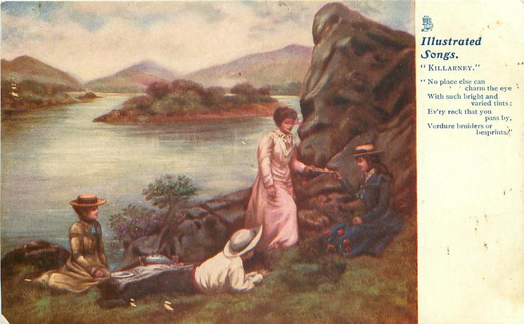"four people picnic at lakeside, no fire  ""NO PLACE ELSE CAN CHARM THE EYE WITH SUCH BRIGHT AND VARIED TINTS; EV'RY ROCK THAT YOU PASS BY, VERDURE BROLDERS OR BESPRINTS"""