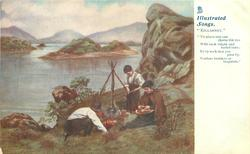 """three people cook around fire at lakeside  """"NO PLACE ELSE CAN CHARM THE EYE WITH SUCH BRIGHT AND VARIED TINTS; EV'RY ROCK THAT YOU PASS BY VERDURE BROIDERS OR BESPRINTS"""""""