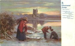 "winter lakeside scene, woman carries wood, two boys play  ""VIRGIN THERE THE GREEN GRASS GROWS, EV'RY MORN SPRING'S NATAL DAY; BRIGHT HUED BERRIES DAFF THE SNOWS, SMILING WINTER'S FROWN AWAY"