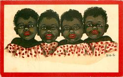 head & shoulders of four children wearing identical shirts, red splotches on white