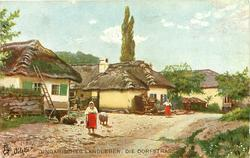 UNGARISCHES LANDLEBEN: DIE DORFSTRASSE  village with homes left, dirt road right, two women