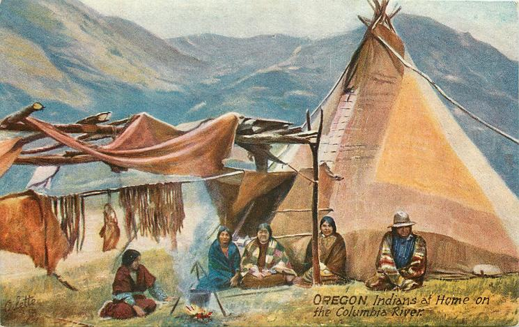 INDIANS AT HOME ON THE COLUMBIA RIVER
