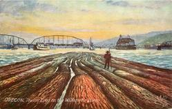 TOWING LOGS ON THE WILLAMETTE RIVER