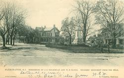 RESIDENCES OF J.E. BROADHEAD AND W.D. BLOOM, SOLDIERS MONUMENT FROM THE REAR