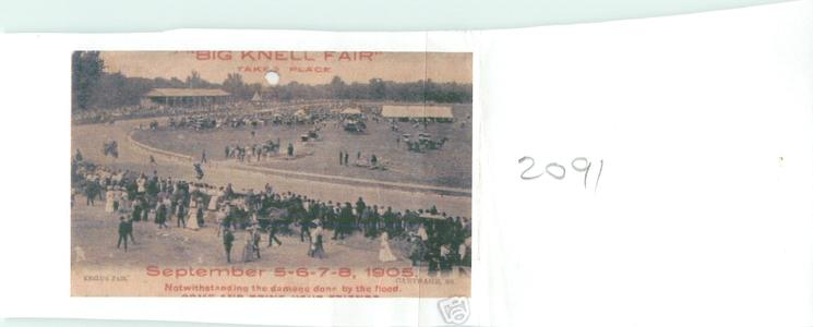 KNELL'S FAIR  comes opt. in red to advertise SEPTEMBER 5-6-7-8 1905 NOTWITHSTANDING THE DAMAGE DONE BY THE FLOOD...