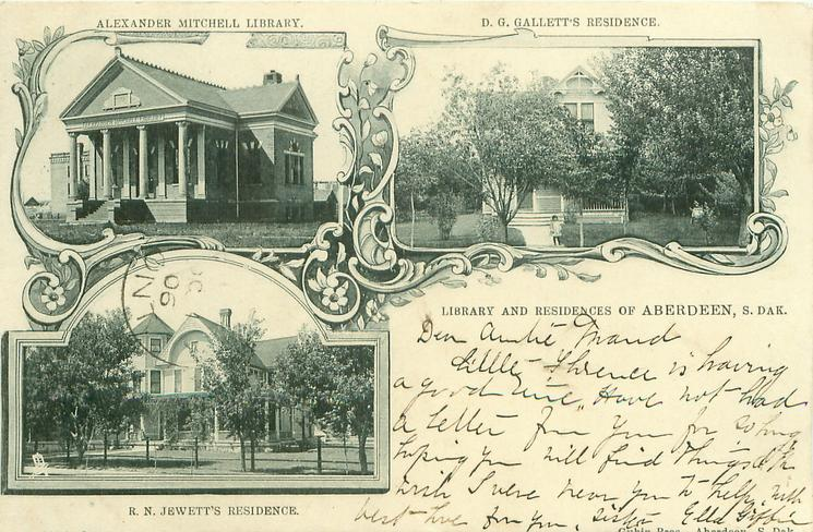 3 insets LIBRARY AND RESIDENCES OF ABERDEEN, S. DAK., ALEXANDER MITCHEL LIBRARY and D.G. GALLETT'S RESIDENCE and R.N. JEWETT'S RESIDENCE