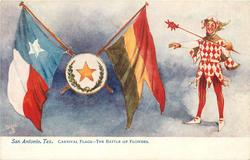 THE BATTLE OF FLOWERS  star between two flags, jester with wand on right