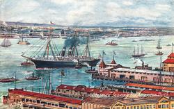 STEAMER LEAVING HER AMERICAN DOCK