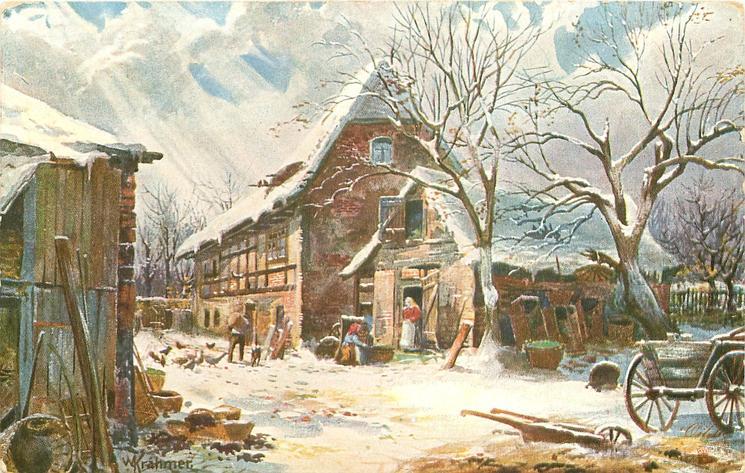 farmyard scene, dog, man feeding chickens, woman in doorway center, plough & cart lower right