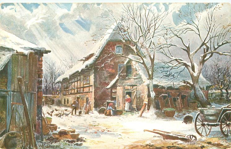 farmyard scene, dog, man feeding chickens , woman in doorway center, plough & cart lower right