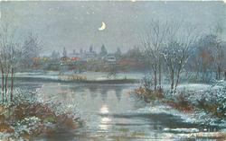 night scene, distant village seen from across pond, crescent moon central