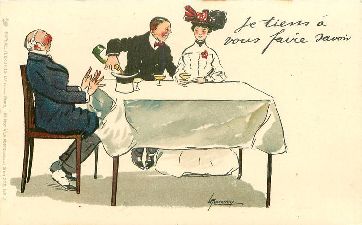 JE TIENS A VOUS FAIRE SAVOIR  besotted man pours champagne into hat