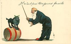 IL N'EST PAS TOUJOURS FACILE  clown instructs circus poodle on barrel