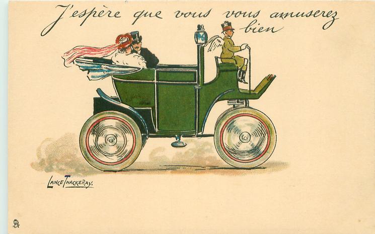 J'ESPERE QUE VOUS AMUSEREZ BIEN  couple in back of antique car driven right by uniformed cupid