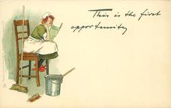 THIS IS THE FIRST OPPORTUNITY  maid sits reading bucket & brushes around