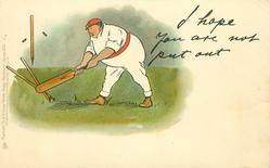 I HOPE YOU ARE NOT PUT OUT  cricket, obese batsman knocks down his own wicket