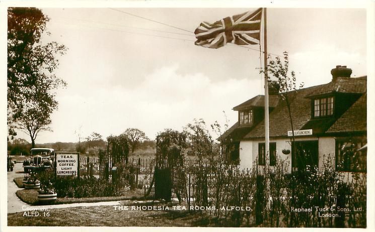 THE RHODESIA TEA ROOMS  exterior, prominent flag