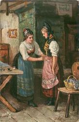 DAS MAGDLEIN SCHMUCKTE SICH ZUM TANZ  girl adjusts dress of another