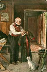 DER LIEBE ALTE ROCK  elderly man stands brushing his coat, cat observes
