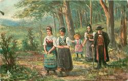 DER SPAZIERGANG  man, three women & child take a stroll in the wood
