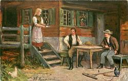 DIE LINDENWIRTIN  girl brings wine to two men seated outdoors at table