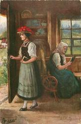 KIRCHGANG  woman opens door, older woman sits reading