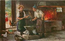 BEIM DORFSCHMIED  woman brings broken rake into blacksmith's forge, fire back right