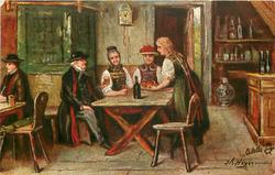 PROSIT  inn scene, two women & man sit at table, maid serves tarts, bottle on table, another man at table left
