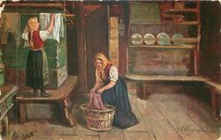 BEI DER WASCHE  two women hang up washing