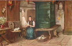 DIE FLEISSIGE SPINNERIN woman sits spinning by table, cat observes
