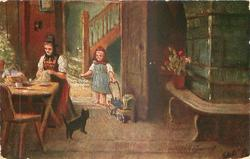 KOMM' MIT, MIEZLE, mother sits at table, girl pushes doll's pram, cat between